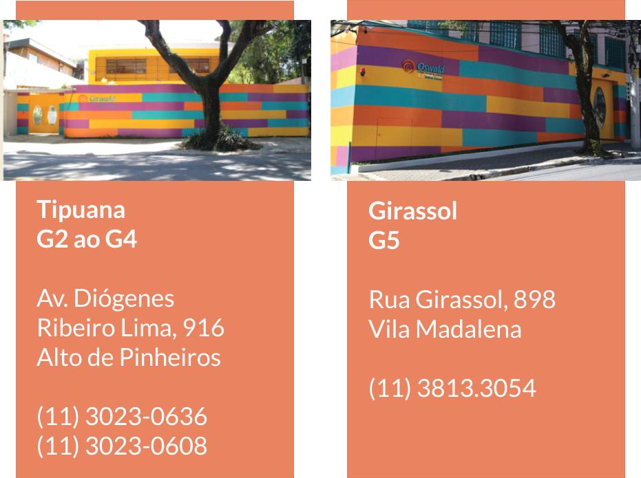 Unidades de Educação Infantil do Colégio Oswald de Andrade