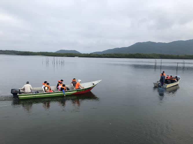 Barcos com alunos do 7º ano na Ilha do Cardoso