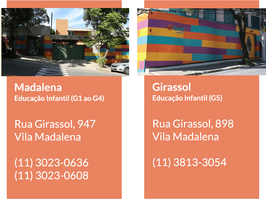 Unidades da Educação Infantil do Colégio Oswald de Andrade